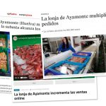 La prensa recoge como noticia el gran aumento de la venta online de pescado y marisco de la Lonja de Ayamonte.